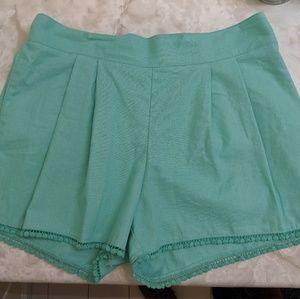 Aqua Pom-Pom Linen Shorts